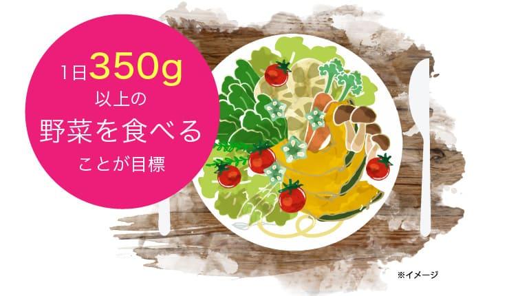 1日350g以上の野菜を食べることが目標