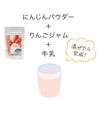にんじんパウダー+リンゴジャム+牛乳